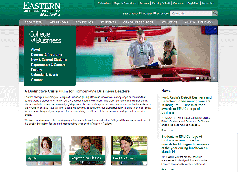 Eastern Michigan University College Of Business Website