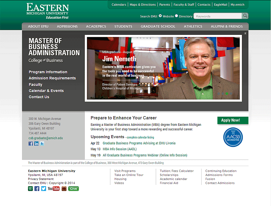 Eastern Michigan University MBA Website