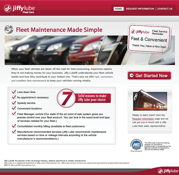Jiffy Lube Fleet Care Website