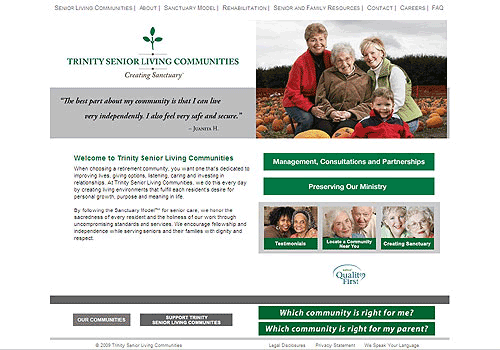 Trinity Senior Living Communities Website