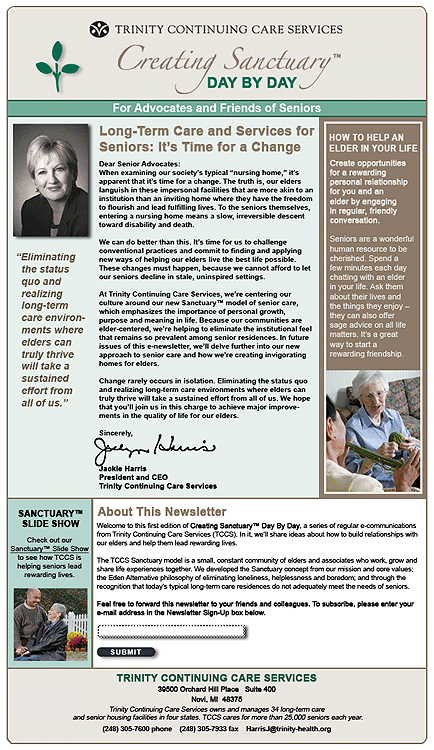 Trinity Continuing Care Services E-newsletter