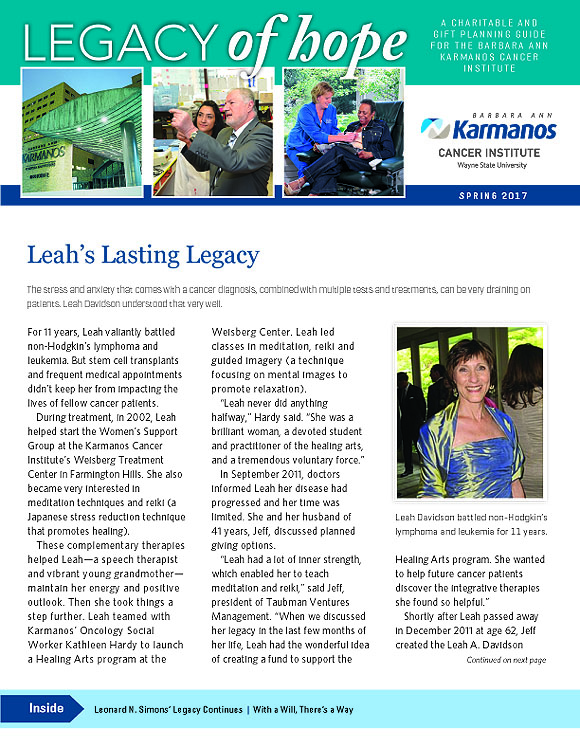 "Karmanos Cancer Center, ""Legacy Of Hope"" Planned Giving Newsletter, Spring 2017"
