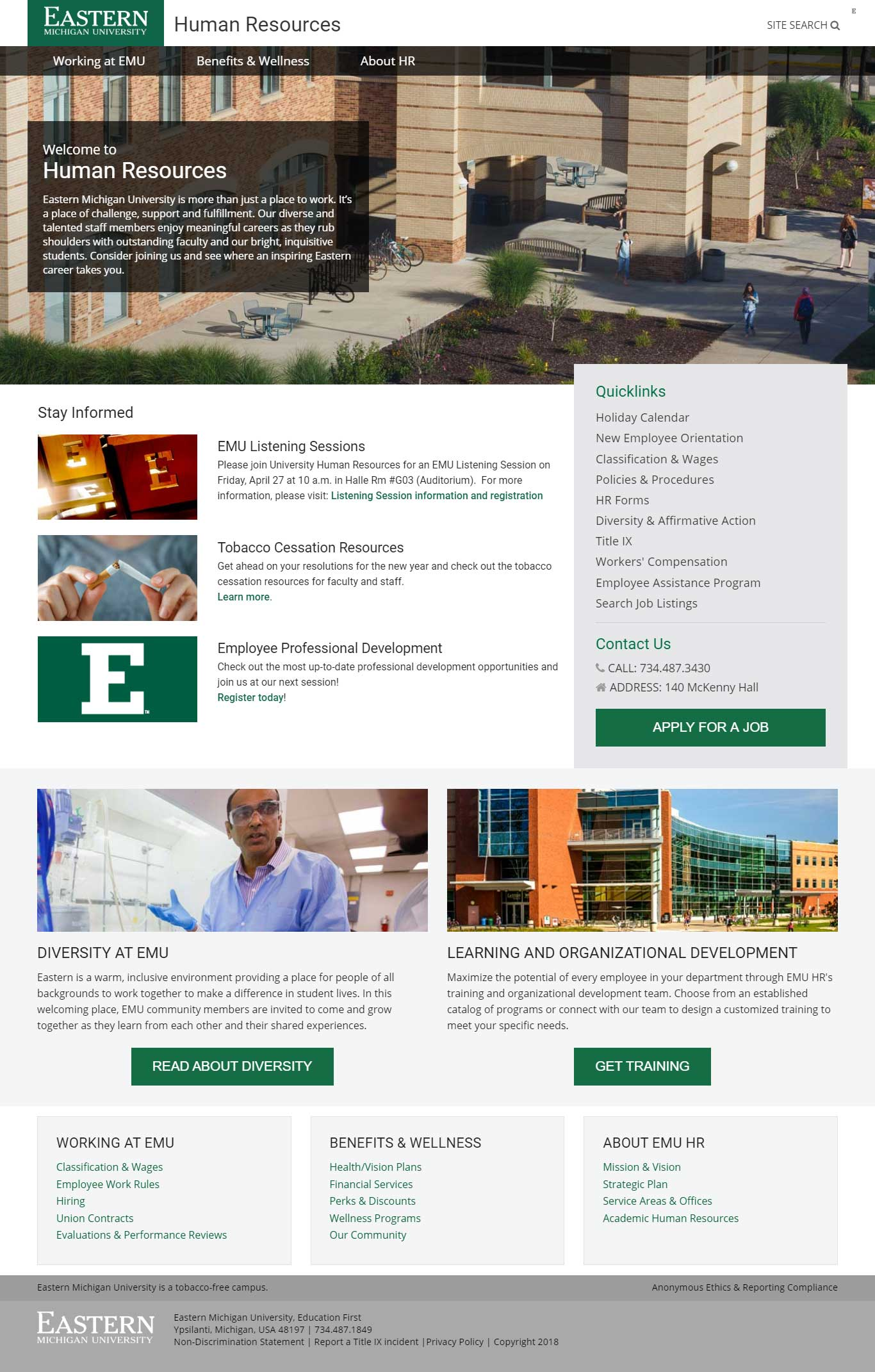 Eastern Michigan University Human Resources Website