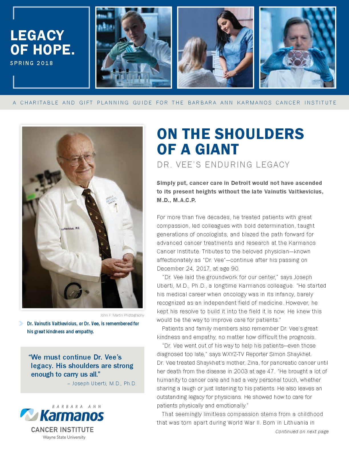 "Karmanos Cancer Center, ""Legacy Of Hope,"" Planned Giving Newsletter, Spring 2018"
